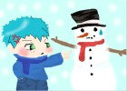 kid and snowman