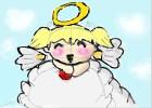 angel chibi on a cloud w/ apple