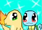 Shiny Charmander and Shiny Squirtle