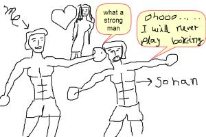 a drawing of my bro about his boxing match
