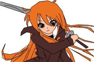 Anime girl with sord.