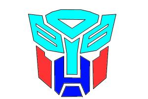 Autobot logo in Cyan, red and blue