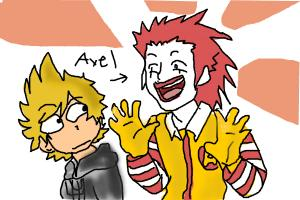 Axel KH and hes Ronald McDonals cosplay
