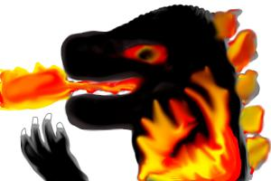 Burning Godzilla drawing