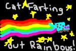CAT FARTING OUT RAINBOWS