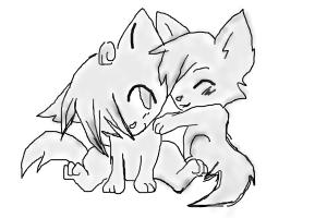 cute anime wolf pups