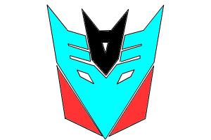 Decepticon logo in cyan red and black