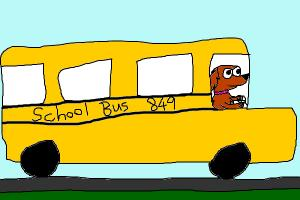 Goldie driving a school bus