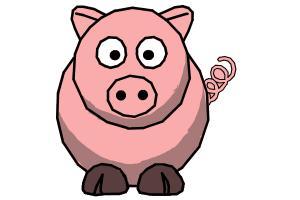 How to draw a cartoon piggy