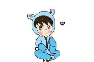 How to draw a cute anime boy in a bear onesie