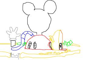 How to draw a Mickey Mouse clubhouse