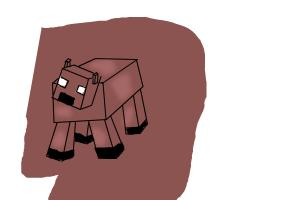 how to draw a scared minecraft cow