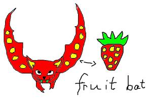 how to draw a strawberry fruit bat