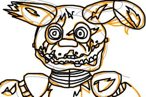 how to draw an uncolored golden bonnie