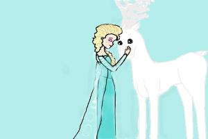 how to draw Elsa and the winter reindeer