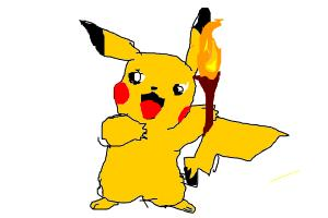 how to draw picachu holding a torch