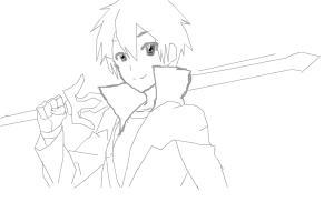Kirito From sao (lineart)