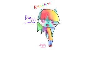 Lets draw 2:  human raninbow dash