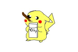 LOL how to draw a funny pikachu eating POCKY