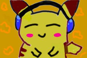 pikachu listing to music