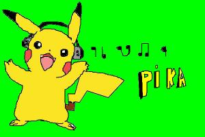 pikachu wearing headphones