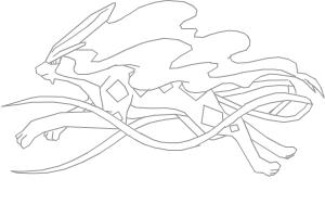 Suicune running uncoloured sketch