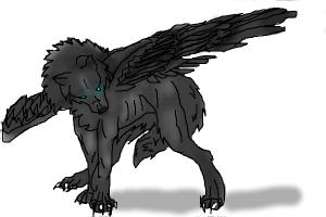 Winged Wolf (black)