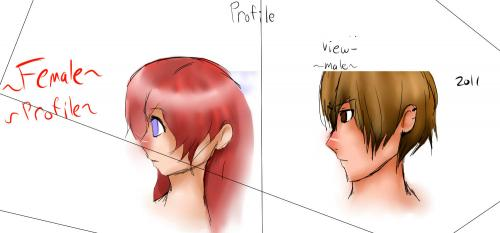Female and Male Profile View (anime)