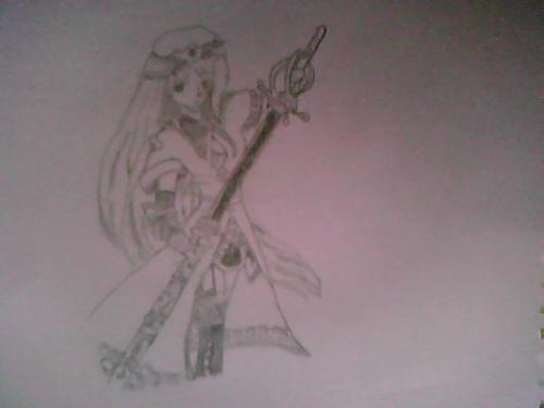 blue warrior - sketch