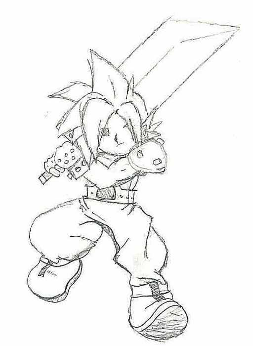 my mini cloud strife very easy funny drawing 7  15  08