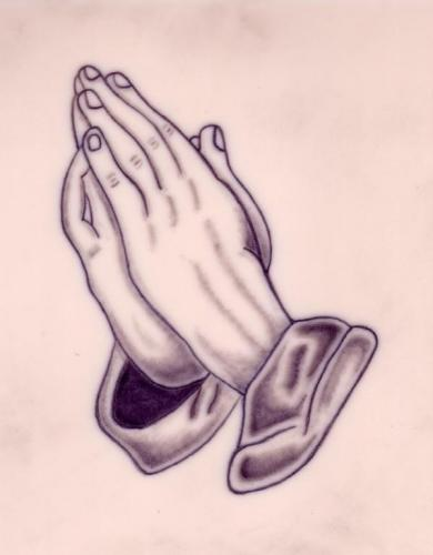 how to draw praying hands with rosary step by step