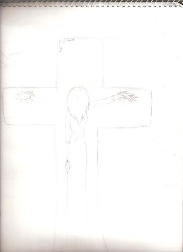 how to draw a crucifix step by step
