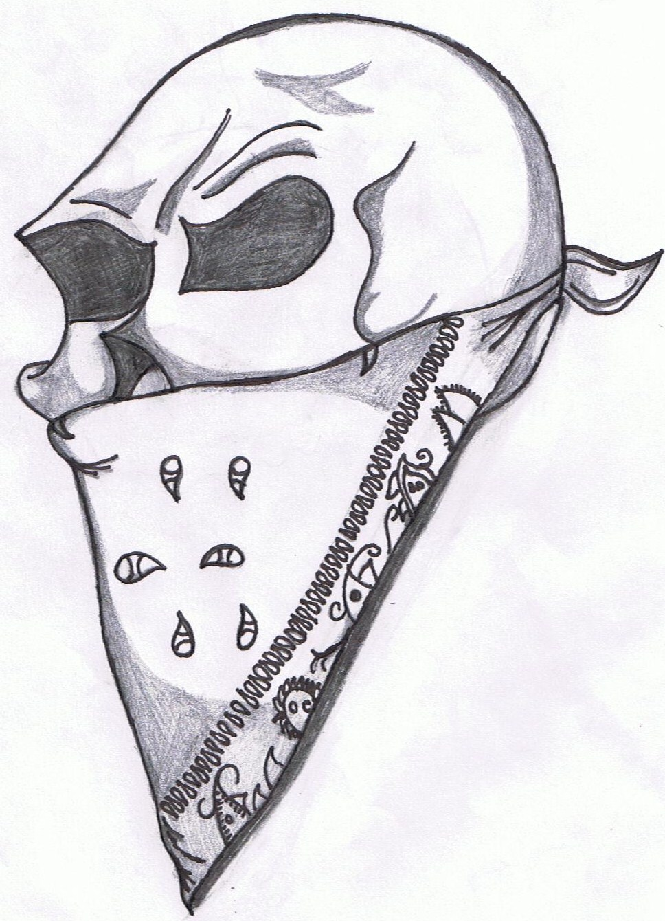 skull and bandana - picture by Guerillaphase | DrawingNow Bandana Drawing