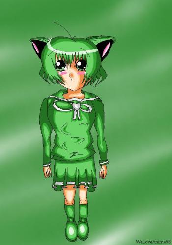 Green Anime School Girl