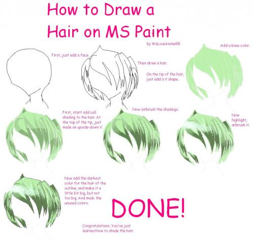 How To Draw Hair Tutorial On Ms Paint Picture By