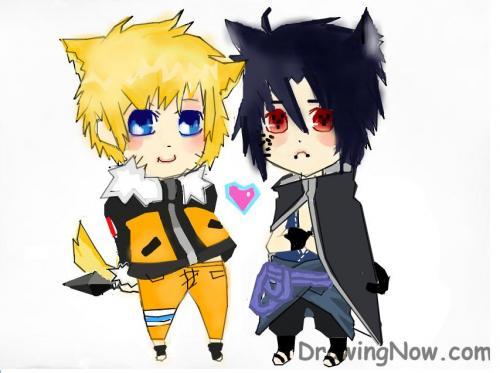 naruto and sasuke chibi. Naruto chibi fox and sasuke chibi cat