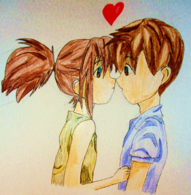 How to Draw Anime People Kissing enlarge anime couple kissing.