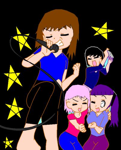 me, (my grl character) yuuki, sakura, and hinata
