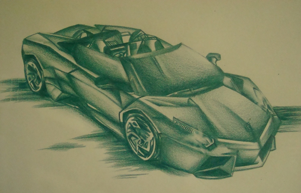 Car In Monochromatic Drawing Picture By Agasshi Drawingnow