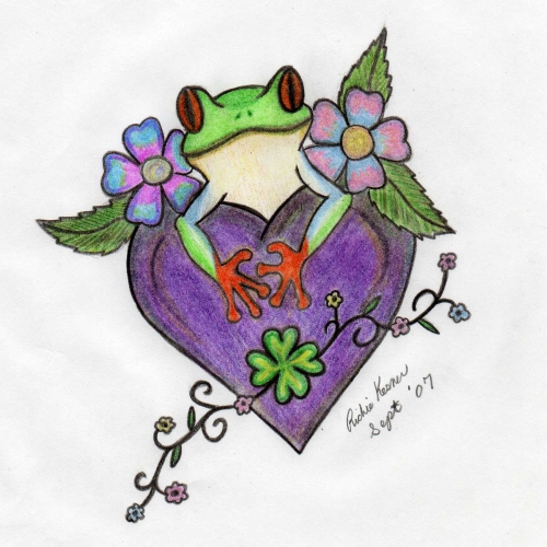 frog and heart