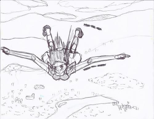 Girl Falling Drawing Pen Sketch Girl Falling