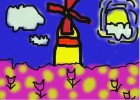 how to draw a windmill with tulips.