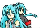 How to draw Hatsune Miku and Mikuo
