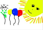 How to Draw The Balloons Floating Up to The Sun