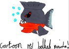 how to draw a cartoon red bellied piranha