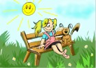 How to draw a Girl with a puppy by sitting in the park