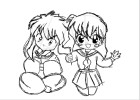 how to draw chib kagome and inuyasha :)