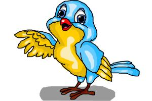 A BLUE AND YELLOW BIRD
