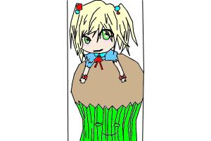 chibi on cupcake