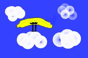 cute banana standing on a cloud